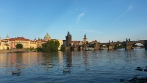 View across the Vltava river of Prague's Old Town and the Charles Bridge.