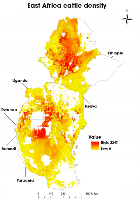 East Africa cattle density