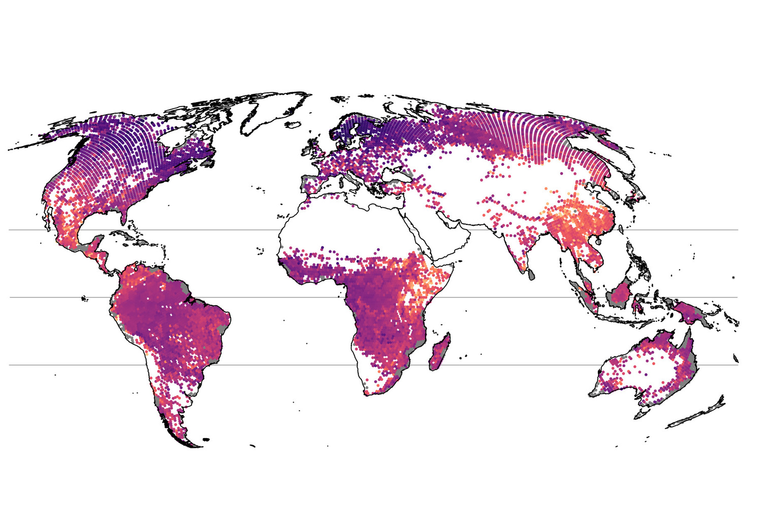 Complete world map of tree diversity: New statistical model eliminates blank spaces